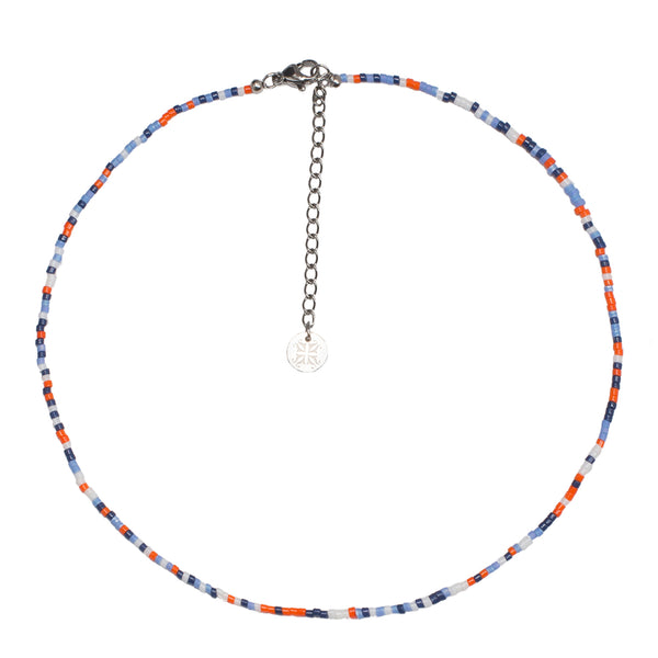 Jolie Choker Game Day - Navy, Light Blue and Orange with Silver