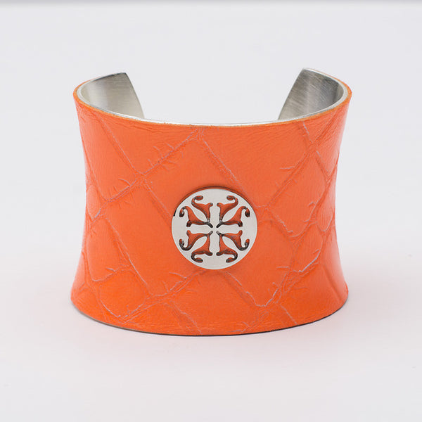 Lambskin 2.0 Concave Neon Orange with Silver