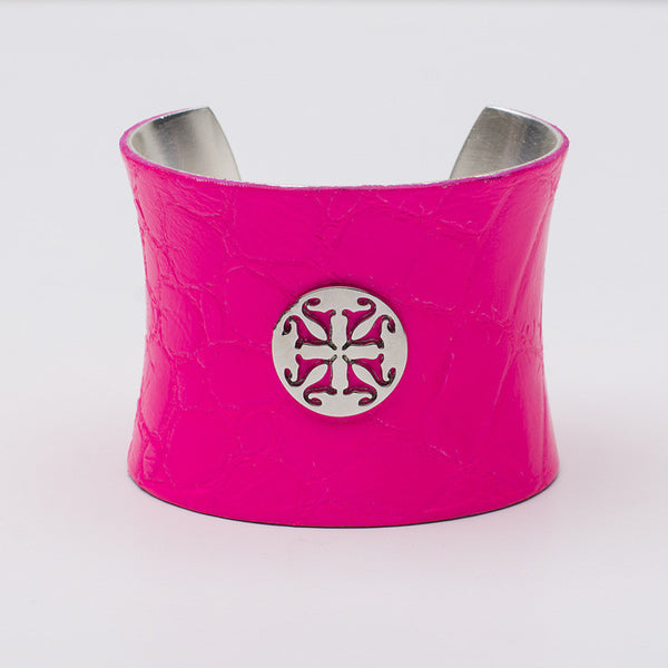 Lambskin 2.0 Concave Neon Pink with Silver