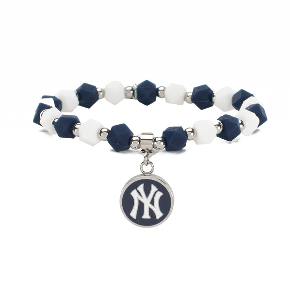 MLB Hexagon Beaded - New York Yankees on Silver