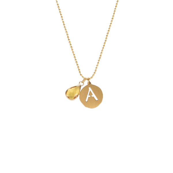 Adele - November Initial Necklace - Gold