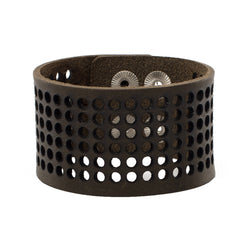 Dottie 1.5 Leather Snap Cuff - Olive