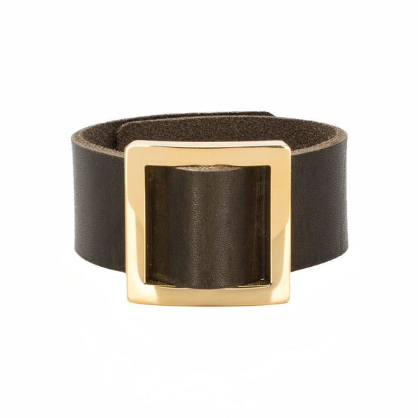 Square Buckle Leather Snap Cuff Olive - Gold
