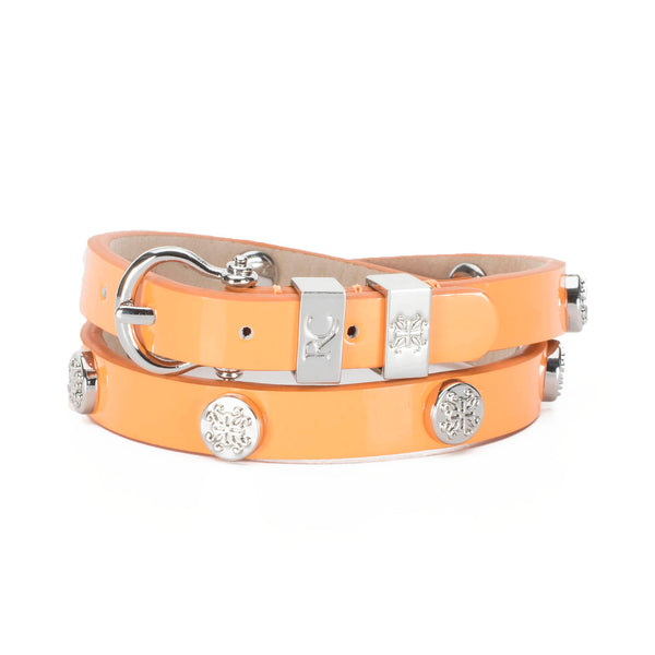 Macy Patent Double Wrap Orange - Silver