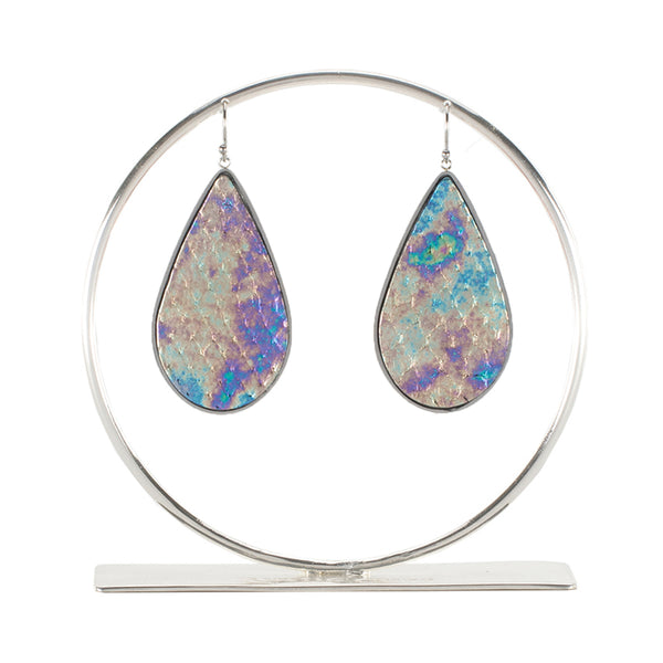 Python Teardrop Earring - Over the Rainbow on Silver