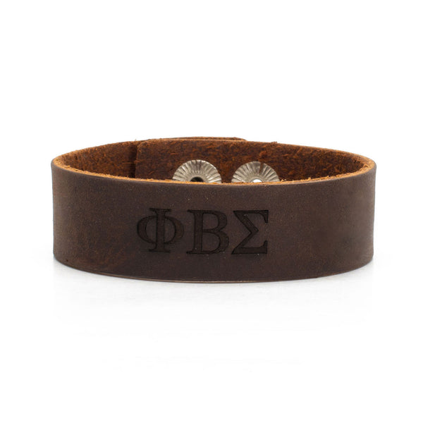Leather Snap Cuff .75 - Phi Beta Sigma Greek Letters