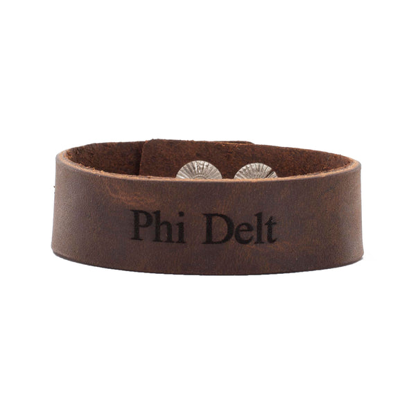 "Leather Snap Cuff .75 - Phi Delta Theta ""Phi Delt"""