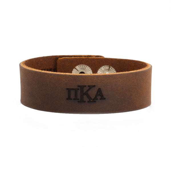 Leather Snap Cuff .75 - Pi Kappa Alpha Greek Letters