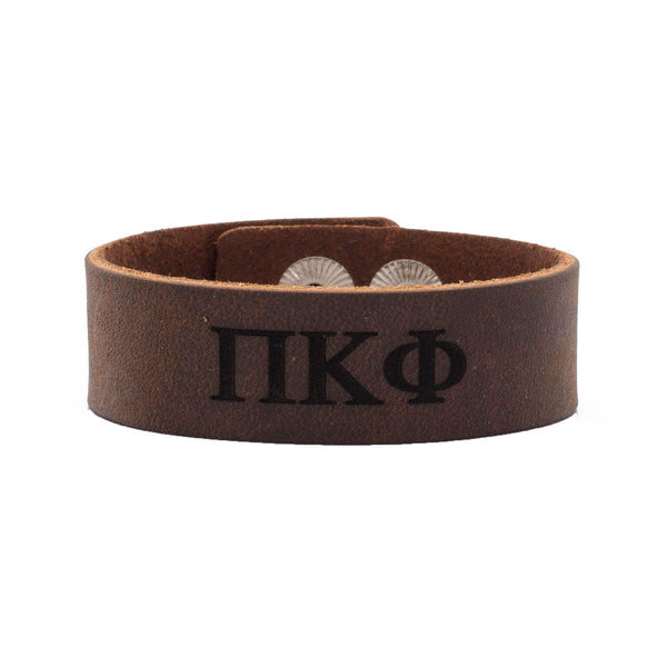 Leather Snap Cuff .75 - Phi Kappa Psi Greek Letters