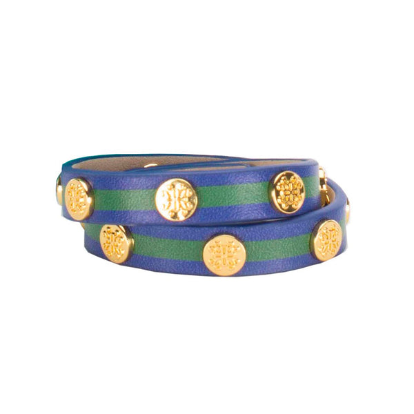 Meagen Double Striped Navy Blue with Green - Gold