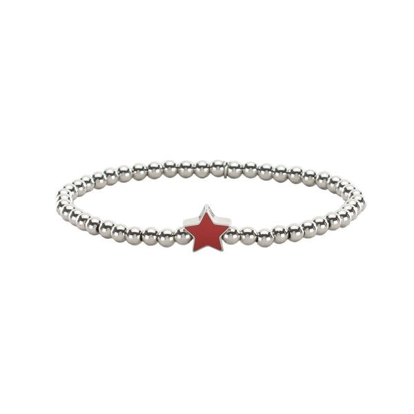 Ireland Mini Enamel Star - Silver with Red