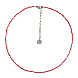 Jolie Choker - Red with Silver