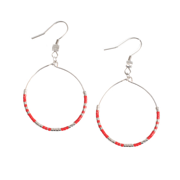 Jolie Hoop Earrings - Red with Silver