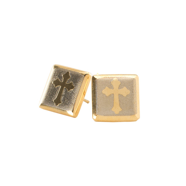 Cross Engraved Square Earrings - Gold