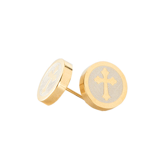 Cross Engraved Circle Earrings - Gold