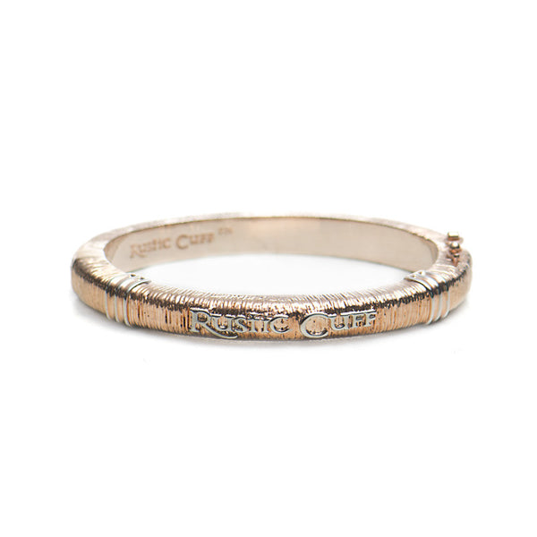 Wendy Textured Bangle - Rose Gold with Silver
