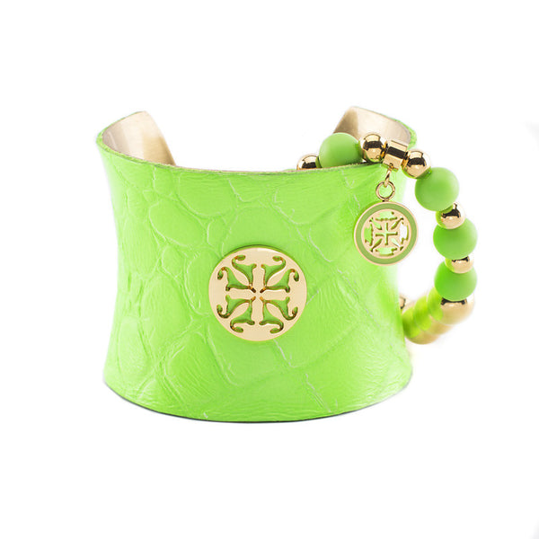 Lambskin Duo Neon Green Gold