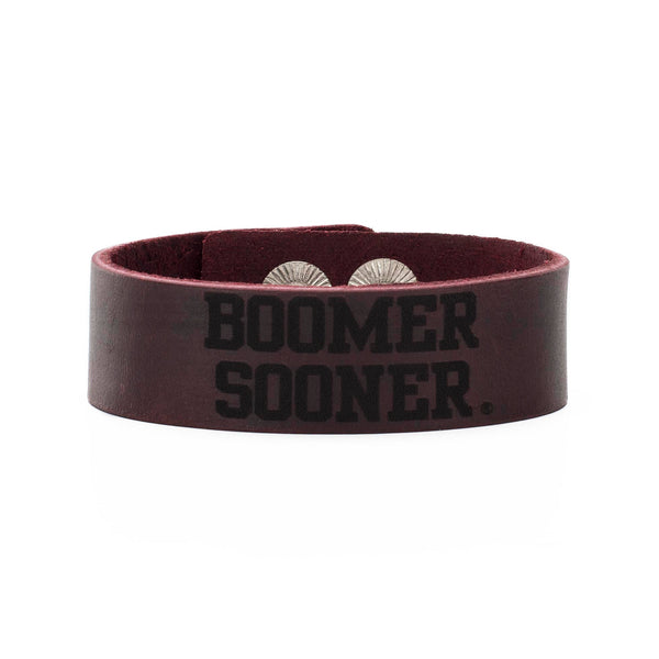 Leather Snap Cuff .75 - BOOMER SOONER