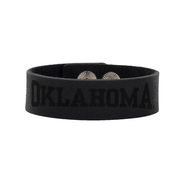 Leather Snap Cuff .75 - OKLAHOMA - Black