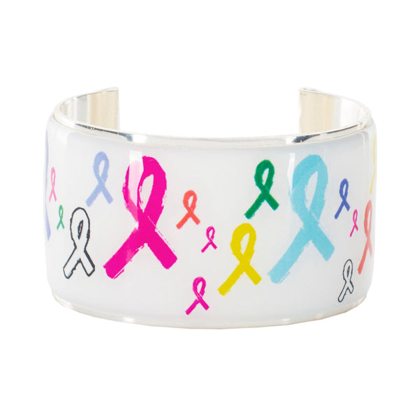Art Deco 1.5 - Awareness Multi-Colored Ribbons - Silver