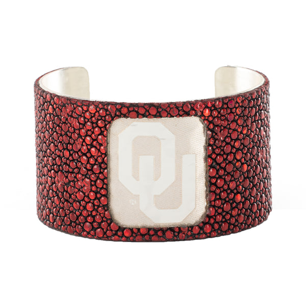 1.5 Engraved OU with Crimson Red Stingray Overlay - Silver