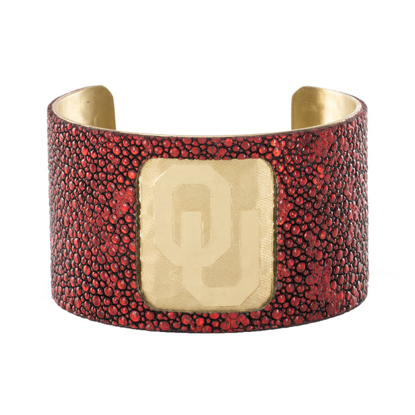 1.5 Engraved OU with Crimson Red Stingray Overlay - Gold