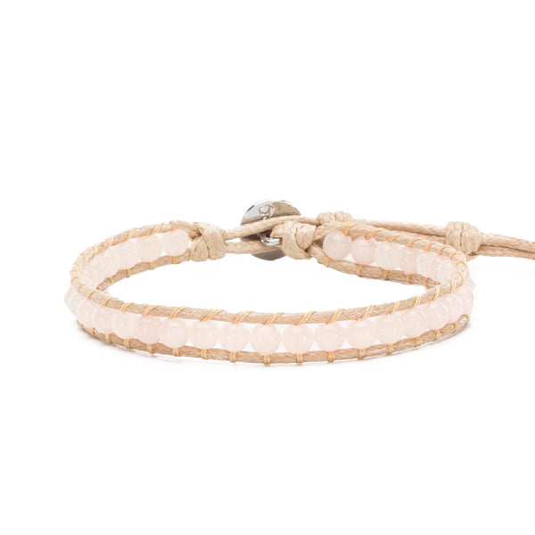 Haven Single Wrap Rose Quartz - Tan Cord