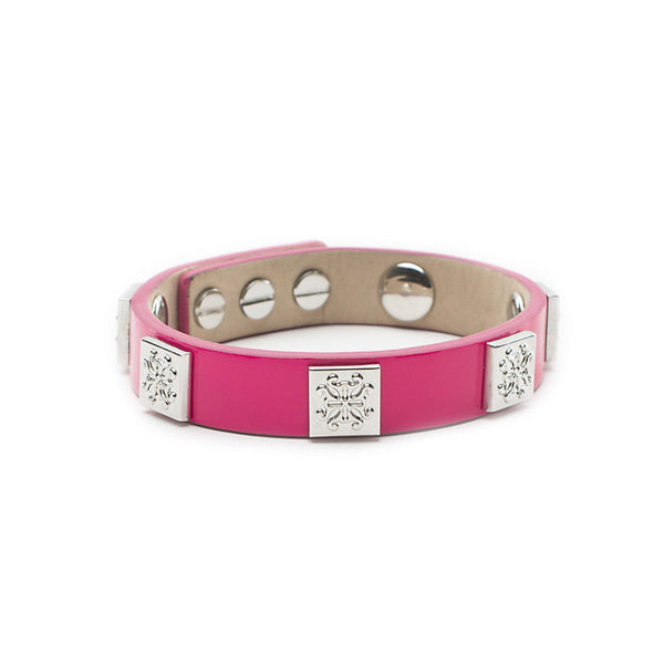 Meagen Single Patent Hot Pink with Silver