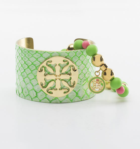 "Whitewash Neon Python Set - 1.5"" Green with Gold, Mambo"