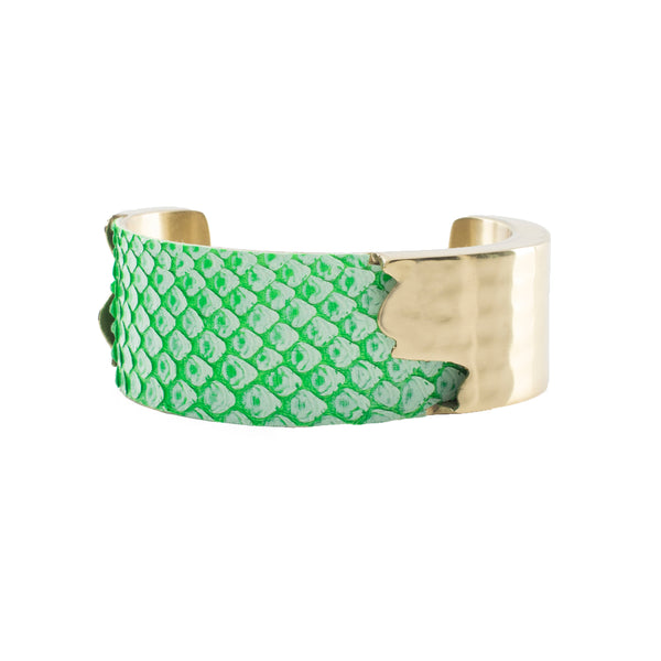 "Whitewash Neon Python - 1.0"" Green with Gold Dallas"