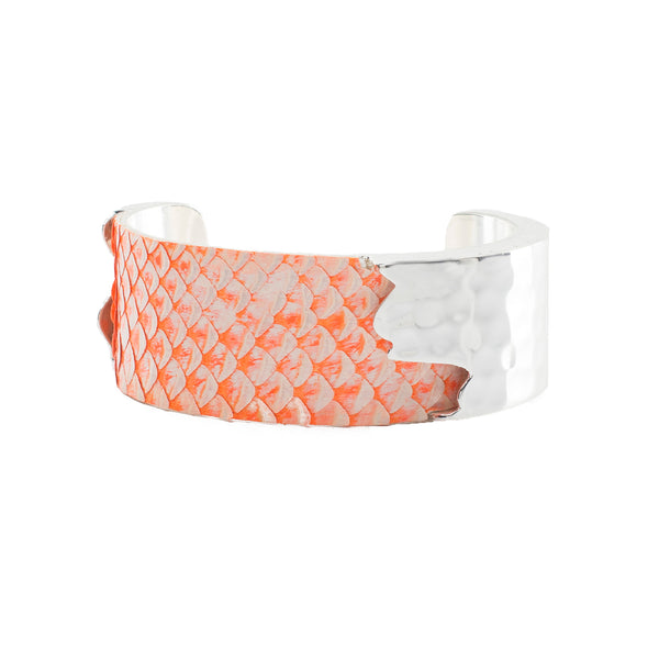 "Whitewash Neon Python - 1.0"" Orange with Silver Dallas"