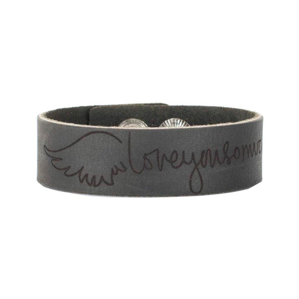 Leather Snap Cuff .75 - Custom Handwriting/ Image