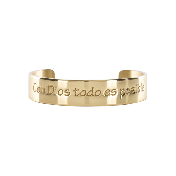 "Engraved Quote .5 ""Con Dios"" - Gold"