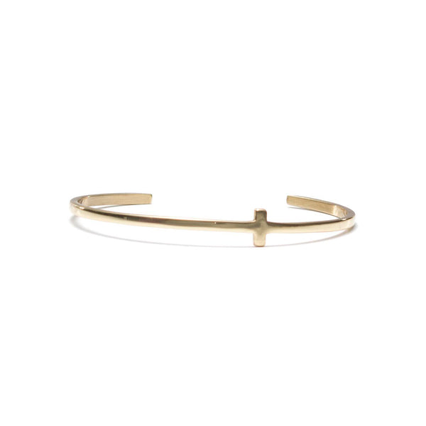 Sideways Cross Petite Cuff - Gold