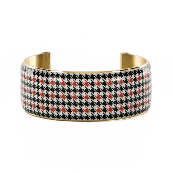Art Deco 1.0 Collegiate Orange and Black Houndstooth