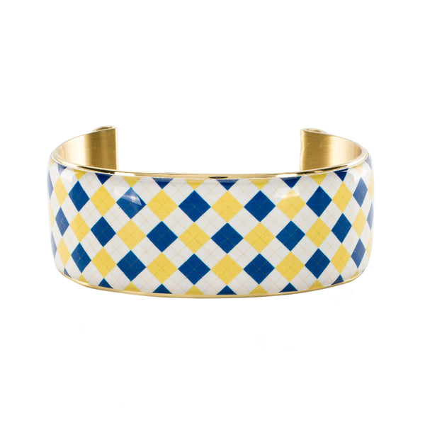 Art Deco 1.0 Collegiate Royal Blue and Old Gold Plaid Argyle