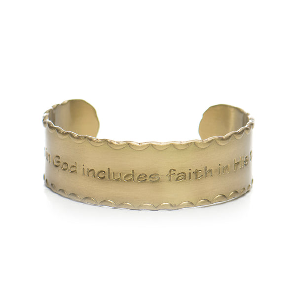 Scalloped Edge Quote .75 Faith in God includes Faith in His Timing - Gold