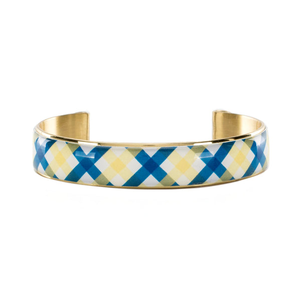 Art Deco .5  - Collegiate Royal Blue and Old Gold Plaid