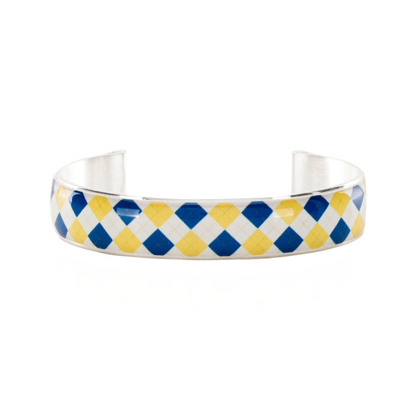 Art Deco .5  - Collegiate Royal Blue and Old Gold Plaid Argyle
