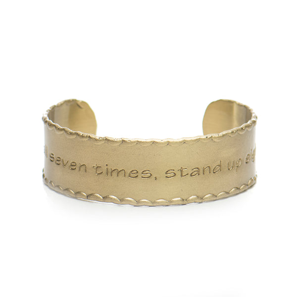 Scalloped Edge Quote .75 Fall Seven Times - Gold