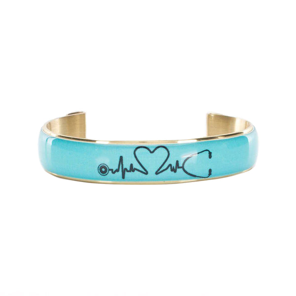 Art Deco .5 Turquoise Medical Professional with Heartbeat