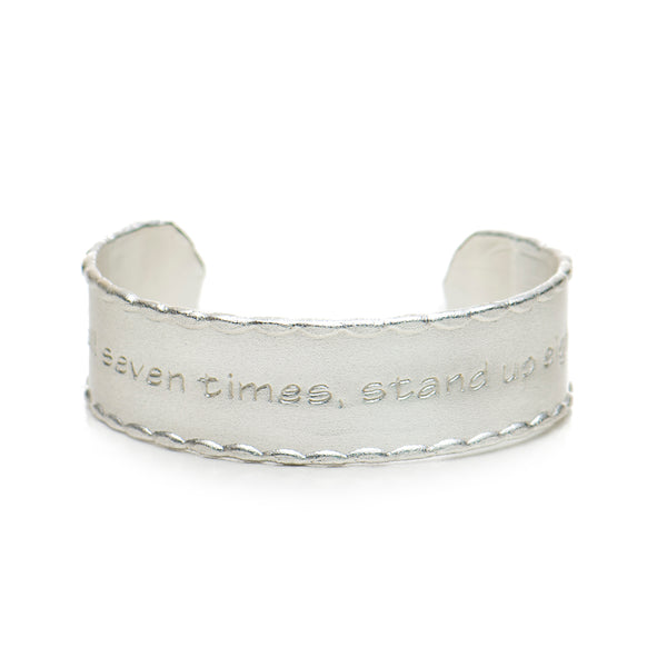 Scalloped Edge Quote .75 Fall Seven Times, Stand Up Eight  - Silver