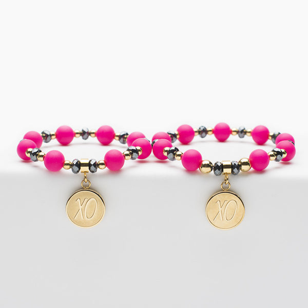 Mommy and Me XO - Hot Pink & Black with Gold