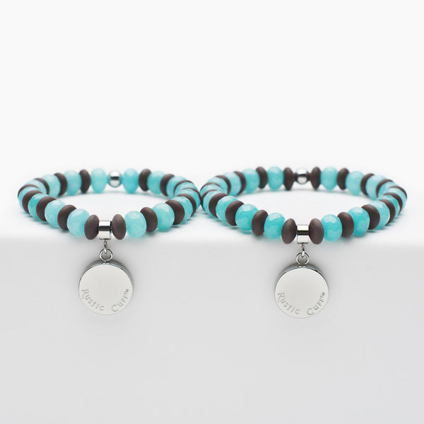 Mommy and Me Hand In Hand - Brown & Turquoise with Silver