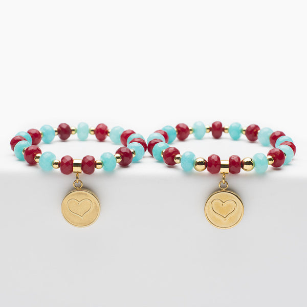 Mommy and Me Heart - Red & Turquoise with Gold