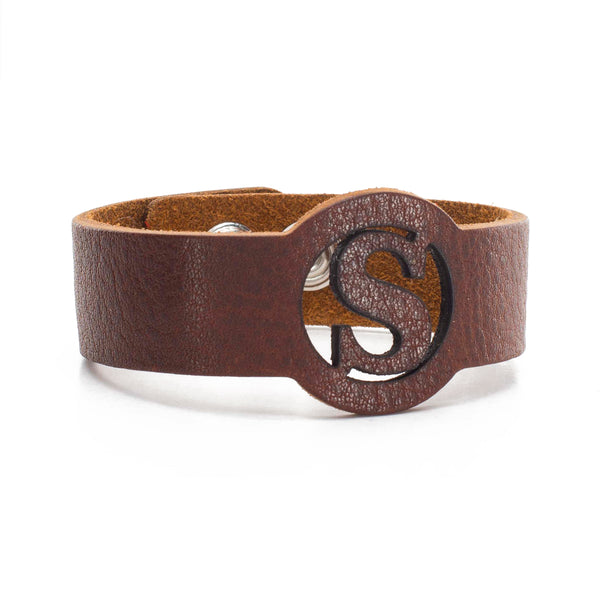 Leather Snap Cuff .75 - Circle Initial Cut Out - Brown