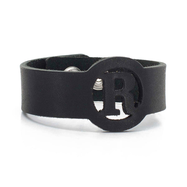 Leather Snap Cuff .75 - Circle Initial Cut Out - Black