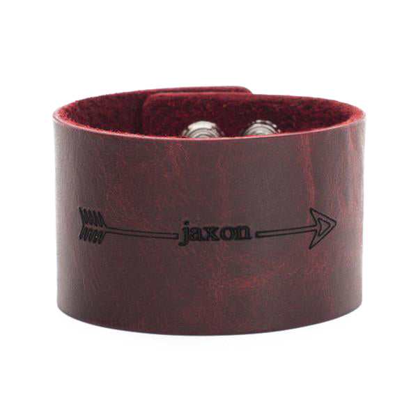 Leather Snap Cuff 1.5 - Custom Name with Arrows - Chili Pepper Red