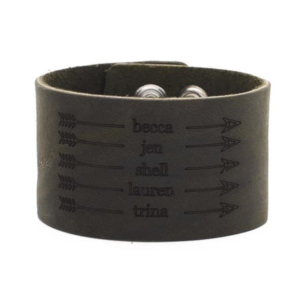 Leather Snap Cuff 1.5 - Custom Name with Arrows - Dark Olive