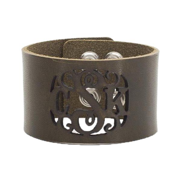 Leather Snap Cuff 1.5 - Script Monogram Cut Out - Olive